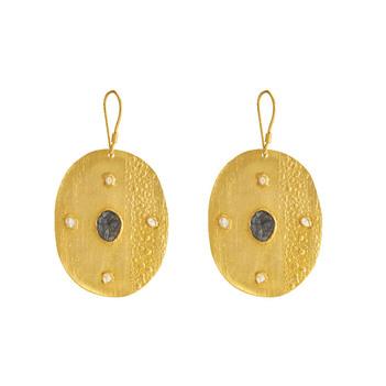 Rustic Uncut Diamond & Sliced Diamonds 925 Sterling Silver Drop Earrings