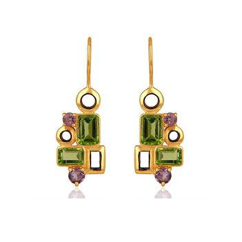 Geometric Delight Amethyst & Peridot 925 Sterling Silver Drop Earrings