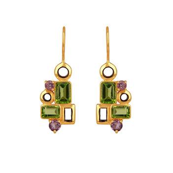 Geometric Delight Amethyst & Peridot 925 Sterling Silver Drop Earrings