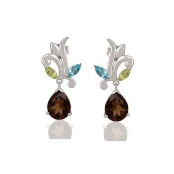Luxuriant Blue Topaz, Peridot & Smoky Topaz 925 Sterling Silver Drop Earrings
