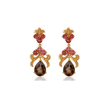 Graceful Pink Tourmaline & Smoky Topaz 925 Sterling Silver Drop Earrings