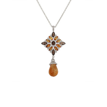 Radiant Citrine & Smoky Topaz 925 Sterling Silver Pendant with Chain