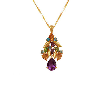 Psychedelic Amethyst, Blue Topaz, Citrine & Peridot 925 Sterling Silver Pendant with Chain