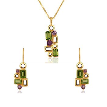Structured Amethyst & Peridot 925 Sterling Silver Pendant set