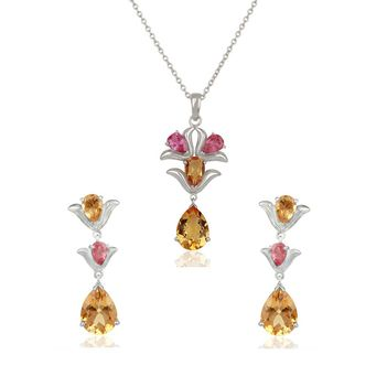 Pleasing Citrine & Pink Tourmaline 925 Sterling Silver Pendant Set