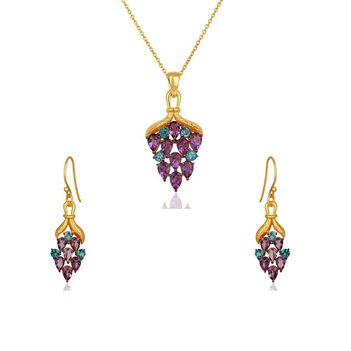 Luscious Amethyst & Blue Topaz 925 Sterling Silver Pendant Set