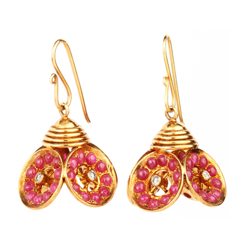 Trendy Ruby and 18K Gold Jhumka