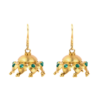 Ravishing Paisley Emerald and 18K Gold Jhumki