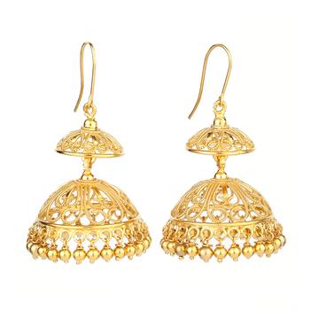 Flamboyant Tiered 22K Gold Jhumki