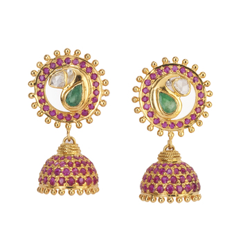 Ruby, Emerald and Uncut Diamond Jhumki