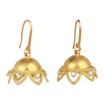 Delicate Diamond and 18K Gold Jhumka
