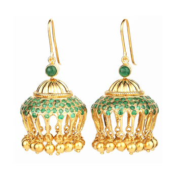 Moghul Inspired Emerald and 18k Gold Jhumki