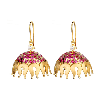 Ruby Studded Decorative 18K Gold Jhumki