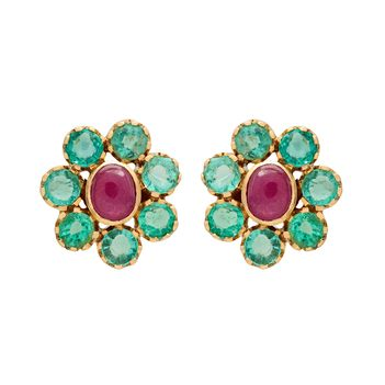 Classic Emerald and Ruby 18K Gold Stud Earrings