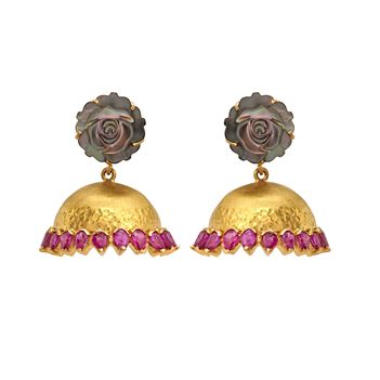 Rose Sculpted Mother of Pearl and Ruby Jhumkis