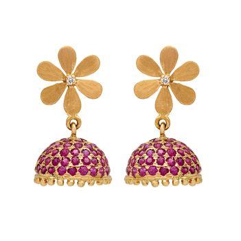 Resplendent Floral Ruby 18K Gold Jhumki