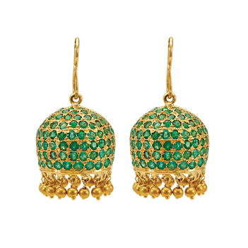 Glamorous Emerald and 18K Gold Jhumki