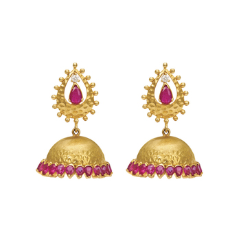 Fiery Ruby and 18K Gold Jhumki