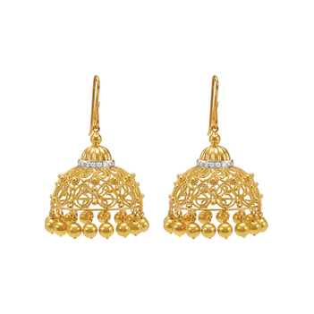 Sensational Diamond and 18K Filigree Jhumka