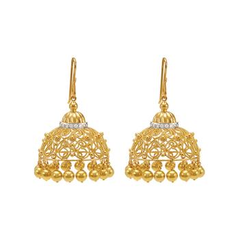 Sensational Diamond and 18K Filigree Jhumka