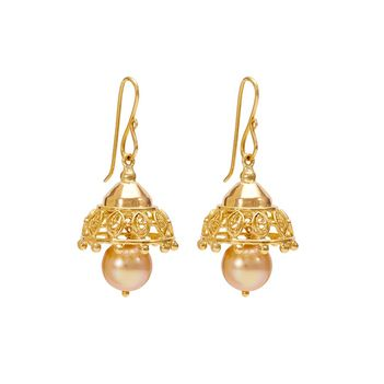 Charismatic Pearl and 18K Gold Jhumki