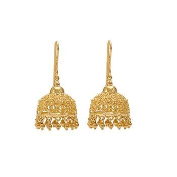 Ornamental Filigree 18K Gold Jhumki