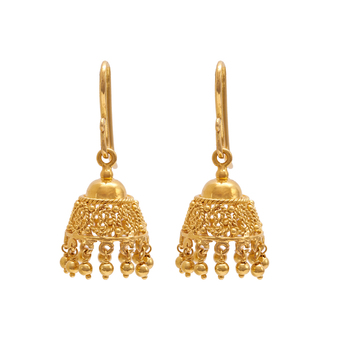 Intricate Filigree 18K Gold Jhumki
