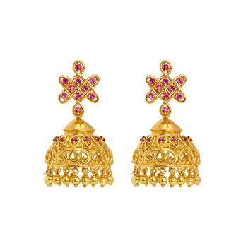 Intricate Pink Ruby and 22K Gold Jhumki
