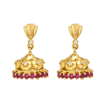 Lucent Ruby & Diamond 18K Gold Baby Jhumki