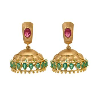 Vivacious Ruby and Emerald 18K Gold Jhumki