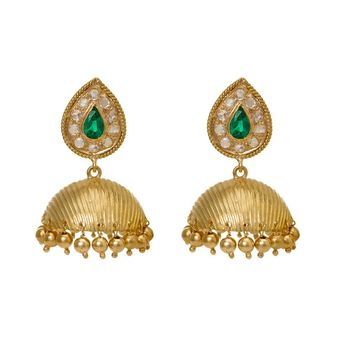 Stylised Emerald and Diamond 18K Gold Jhumki