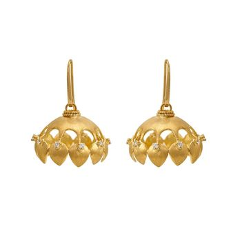 Bewitching Diamond and 18K Gold Jhumka
