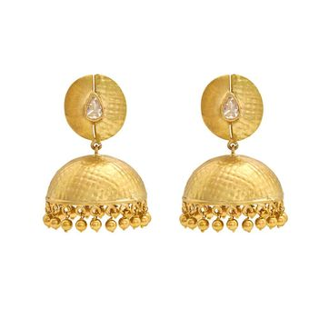 Ingenious Rosecut Diamond Jhumkas in Textured 18K Yellow Gold