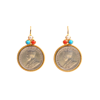 Gold & Silver Coin Hook Earrings