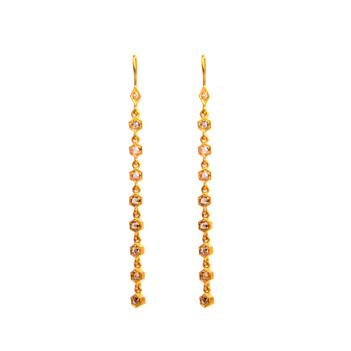 Rose Cut Diamond Hook Earrings