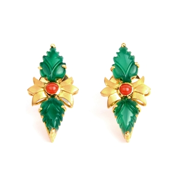 Coral & Green Onyx Studs