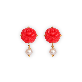 Carved Coral & Pearl Earrings