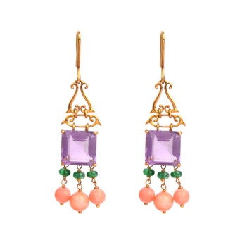 Amethyst, Coral and Emerald Hook Earrings