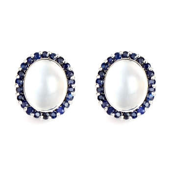 Moonstone & Blue Sapphire 18K Stud Earrings