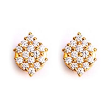 Art Deco Diamond 18K Gold Stud Earrings