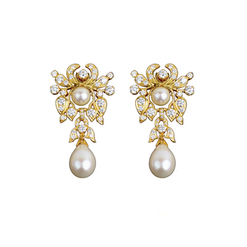 Exquisite Edwardian Diamond Pearl Drops