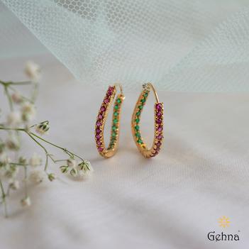 Dainty Ruby-Emerald Hoops