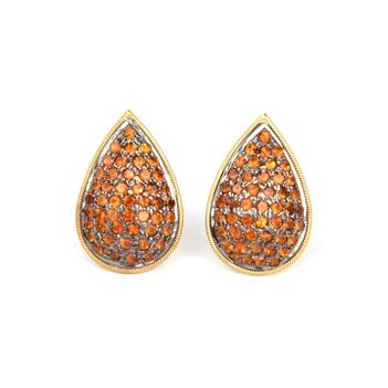 Citrine Pave 18K Gold Stud Earrings