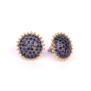 Royal Sapphire 18K Gold Stud Earrings