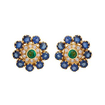 Iconic Sapphire, Emerald and Diamond Stud Earrings