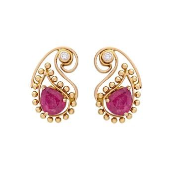 Peerless Paisley Ruby 18K Gold Stud Earrings