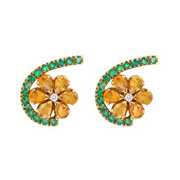 Assymetrical Citrine and Emerald Floral 18K Gold Stud Earrings