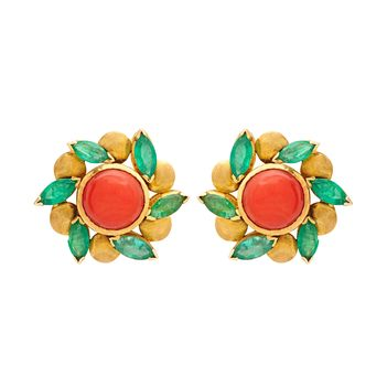 Emerald and Coral Floral 18K Gold Stud Earrings