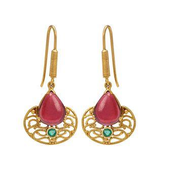 Winsome Garnet & Emerald Gold Drops