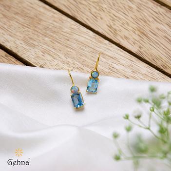 Glowing Opal & Blue Topaz Drops